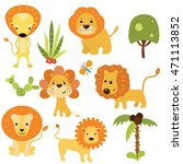 set of different lions on white ... | Shutterstock .eps vector #471113852