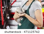 Stock photo saleswoman holding rabbit at store 471125762