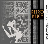 embracing couple  retro party... | Shutterstock .eps vector #471133295