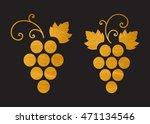 gold textured grapes logo....   Shutterstock .eps vector #471134546