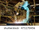 robot is welding steel in car... | Shutterstock . vector #471170456