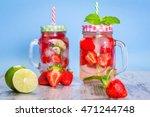 summer strawberry lemonade in a ... | Shutterstock . vector #471244748