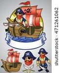 set of pirate cartoon mascot