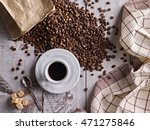 small cup of coffee on wooden... | Shutterstock . vector #471275846