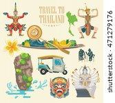 travel thailand landmarks. thai ... | Shutterstock .eps vector #471279176