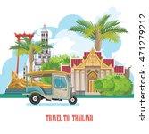 travel thailand landmarks. thai ... | Shutterstock .eps vector #471279212