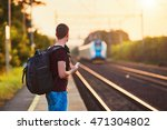 traveler is late at the train... | Shutterstock . vector #471304802