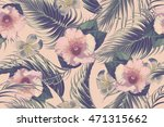 tropical flowers  palm leaves ... | Shutterstock .eps vector #471315662