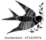 flying swallow. stylized bird.... | Shutterstock .eps vector #471319076