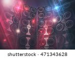 Disco Speakers Background. Large Event Speakers and Disco Lights Background. 3D Render Illustration. - stock photo