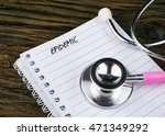 stethoscope and notebook with... | Shutterstock . vector #471349292