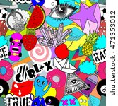 colorful stickers on white... | Shutterstock .eps vector #471353012