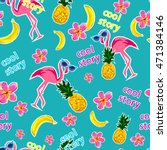 flamingo  pineapple vector... | Shutterstock .eps vector #471384146