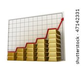 stacks of gold bars against a... | Shutterstock . vector #47142331
