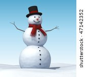 smiling snowman on a blue sky... | Shutterstock . vector #47142352