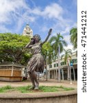 Small photo of HONOLULU, HI - AUG 6: View of the hula girl statue at Aloha Tower Marketplace on August 16, 2016 in Honolulu, Hawaii.