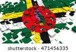 fragment flag of dominica. 3d... | Shutterstock . vector #471456335