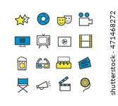 set of 16 outline cinema icons. ... | Shutterstock .eps vector #471468272