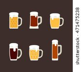 Icons Set Of Beer Mugs. Vector...