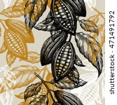 cocoa beans seamless pattern.... | Shutterstock .eps vector #471491792