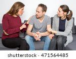 woman discussing with man with... | Shutterstock . vector #471564485