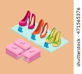 flat isometric shoes boutique... | Shutterstock .eps vector #471565376