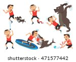 wild animal and pets attacking... | Shutterstock .eps vector #471577442