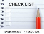 check list on notepad and red... | Shutterstock . vector #471590426