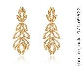 pair of golden diamond earrings ... | Shutterstock . vector #471592922