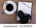 cup of black coffee and camera... | Shutterstock . vector #471593045