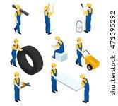 set of vector isometric workers ...   Shutterstock .eps vector #471595292