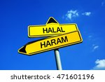 Small photo of Halal or Haram - Traffic sign with two options - Muslims, Islam and allowed food vs forbidden dietary. Regulation based on principle of clean and unclean preparation, cooking and animal species