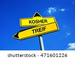 Small photo of Kosher or Treif - Traffic sign with two options - Jews, Judaism and allowed food vs forbidden dietary. Regulation based on principle of clean and unclean preparation, cooking and animal species