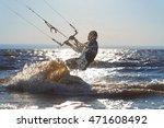Kiteboarding.  A Kite Surfer...