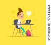 boy character studying in a... | Shutterstock .eps vector #471612326