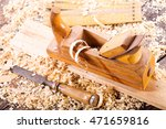 Old Wooden Planer With Sawdust...