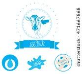 milk labels vector set. | Shutterstock .eps vector #471667868