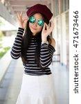 portrait of thai teen glasses... | Shutterstock . vector #471673466