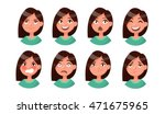 set of woman's emotions. facial ... | Shutterstock .eps vector #471675965