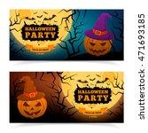 spooky pumpkin in witch hat....   Shutterstock .eps vector #471693185