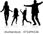 family silhouettes . | Shutterstock .eps vector #471694136