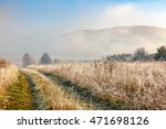 rural path through hillside meadow with frozen grass in Carpathian mountains in morning fog at sunrise - stock photo