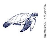 Sea Turtle Line Art Coloring...