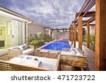 wood decorated swimming pool... | Shutterstock . vector #471723722