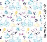 sport fitness objects pattern | Shutterstock .eps vector #471732392