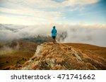 hiker walking in autumn... | Shutterstock . vector #471741662