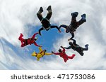 skydiving holding hands friends | Shutterstock . vector #471753086