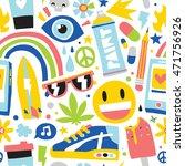 summer vibes cartoon hipster... | Shutterstock .eps vector #471756926