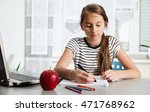 beautiful girl working on her... | Shutterstock . vector #471768962