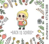 back to school girl with book... | Shutterstock .eps vector #471782288
